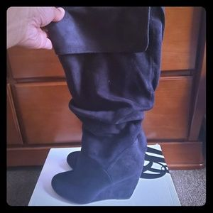 Nine West Black wedged slouch boots